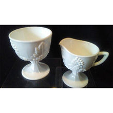 Azucarera y cremera de Milk Glass