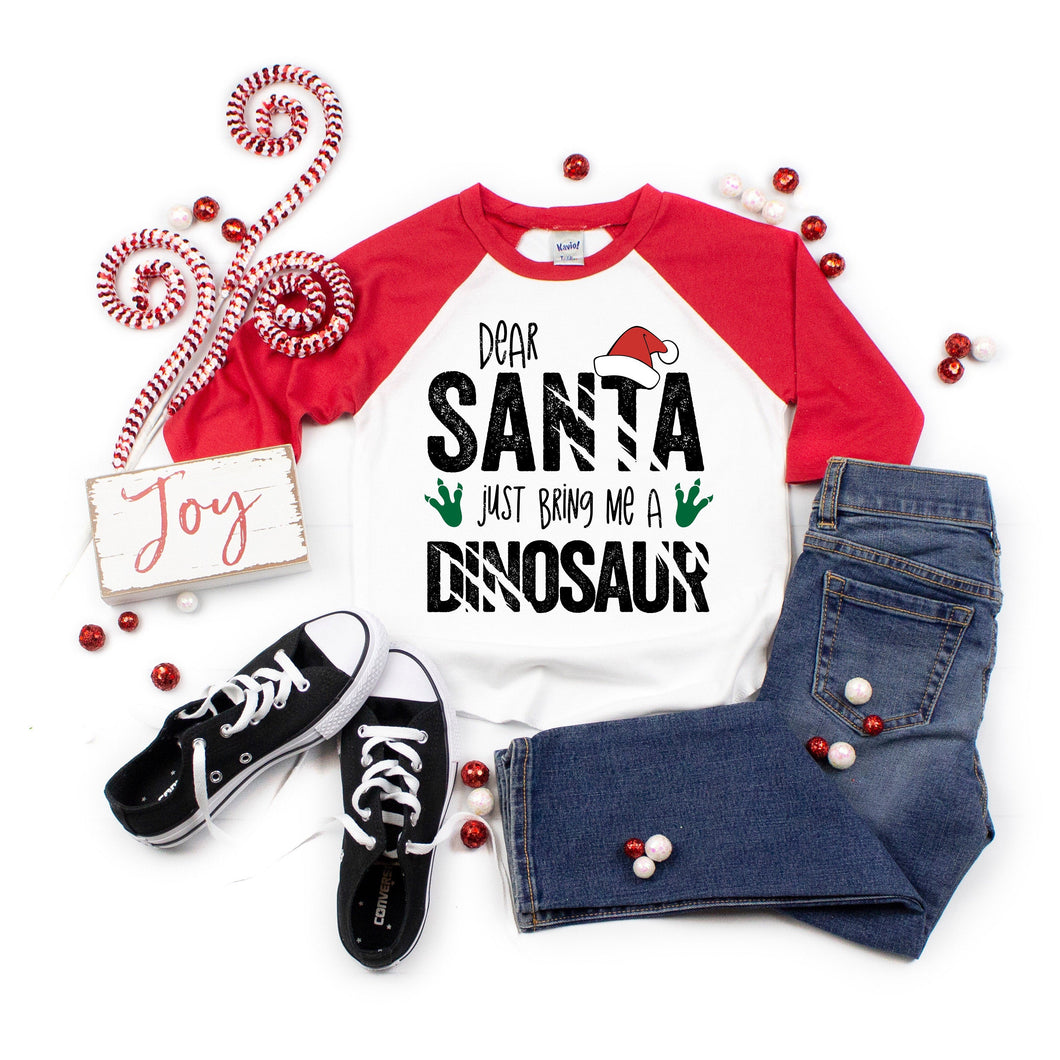 dear santa bring me a dinosaur - dinosaur for chrstimas - christmas dinsoaur shirt - dinosaur christmas tshirt - christmas shirt for boys