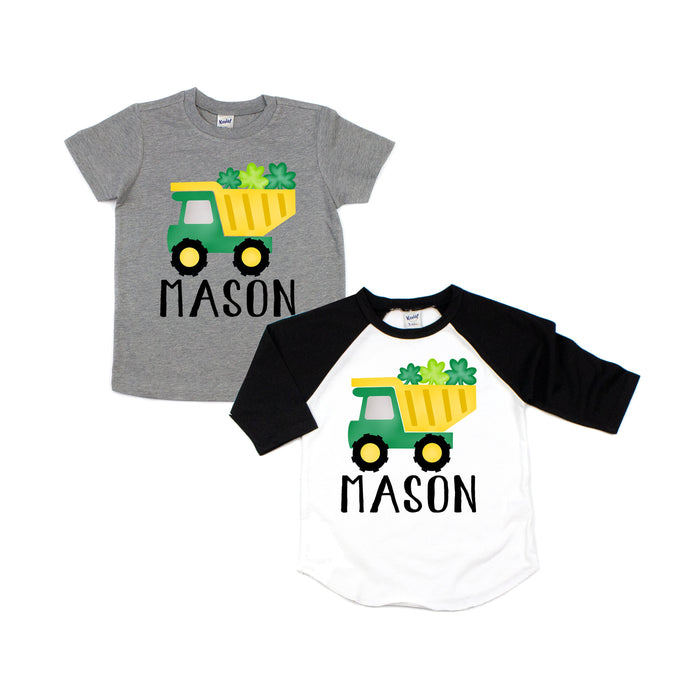 shamrock dump truck - personalized shirt - st patricks day - dump truck shirt - boys st patricks day - shamrock truck - st pattys day