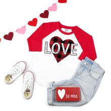 Plaid Love Heart - Raglan Heart - Plaid Valentines Day - Valentine's Shirt for Boy - Heart Shirt - Plaid Tshirt - Valentines day plaid