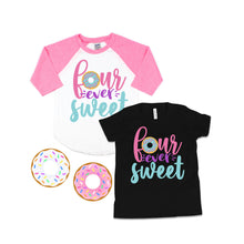 four ever sweet - fourth birthday shirt - donut birthday shirt - donut party shirt - 4th birthday shirt - donut grow up - donut party - tee