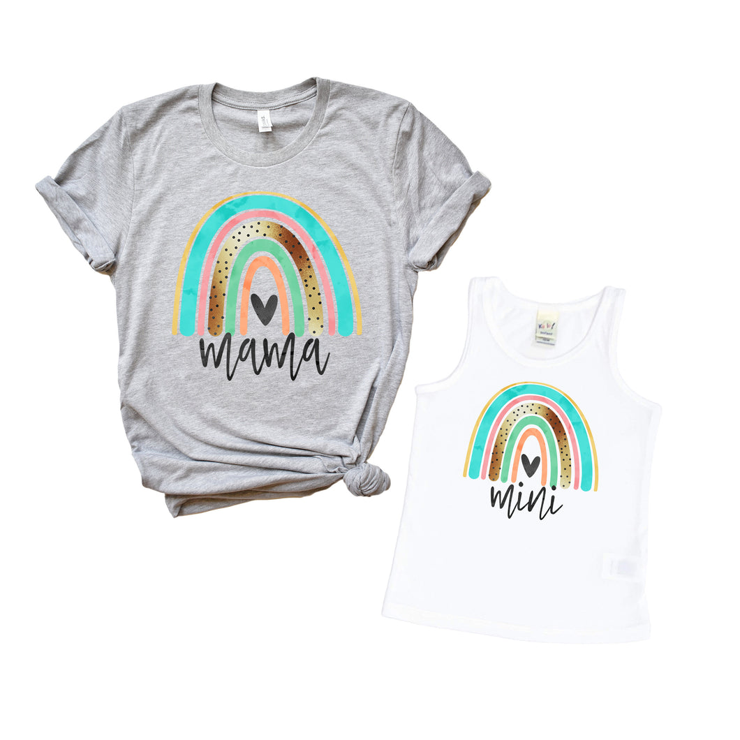 mama and mini - rainbow shirt - rainbow tshirt - matching rainbow shirts - mommy and me outfits - mommy and me shirts - matching shirts