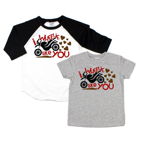 I wheelie love you - boys valentines shirt - valentines shirt - motorcycle shirt - boys motorcycle shirt - motorcycle valentines shirt - boy