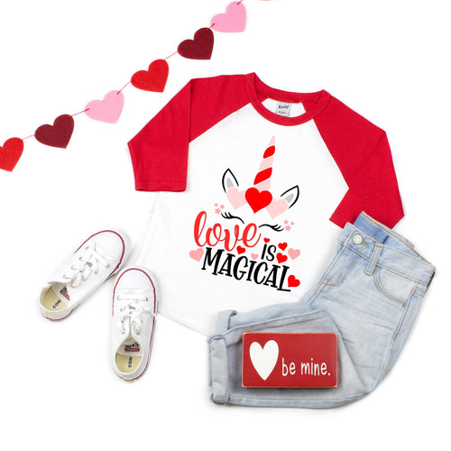 valentines unicorn shirt - love is magical - love unicorn shirt - heart unicorn - unicorn hearts - girls valentine - unicorn valentine shirt