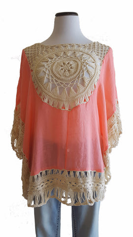 Gorgeous Coral Crochet Top