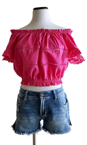Fabulous Fuschia Off-The-Shoulder Top