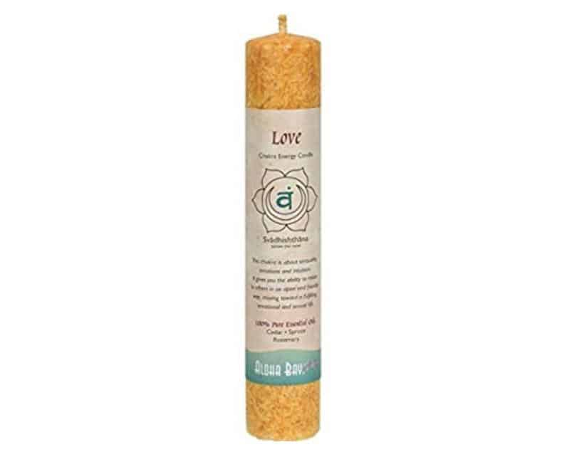 Aloha Bay Chakra Pillar Candle Love orange