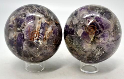 Amethyst & Clear Quartz Oroganite Sphere