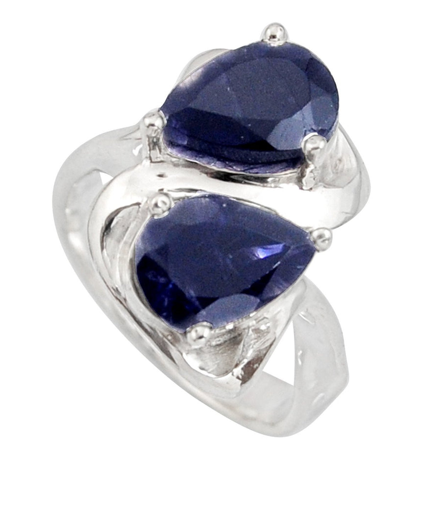 Blue iolite Pear Silver Ring