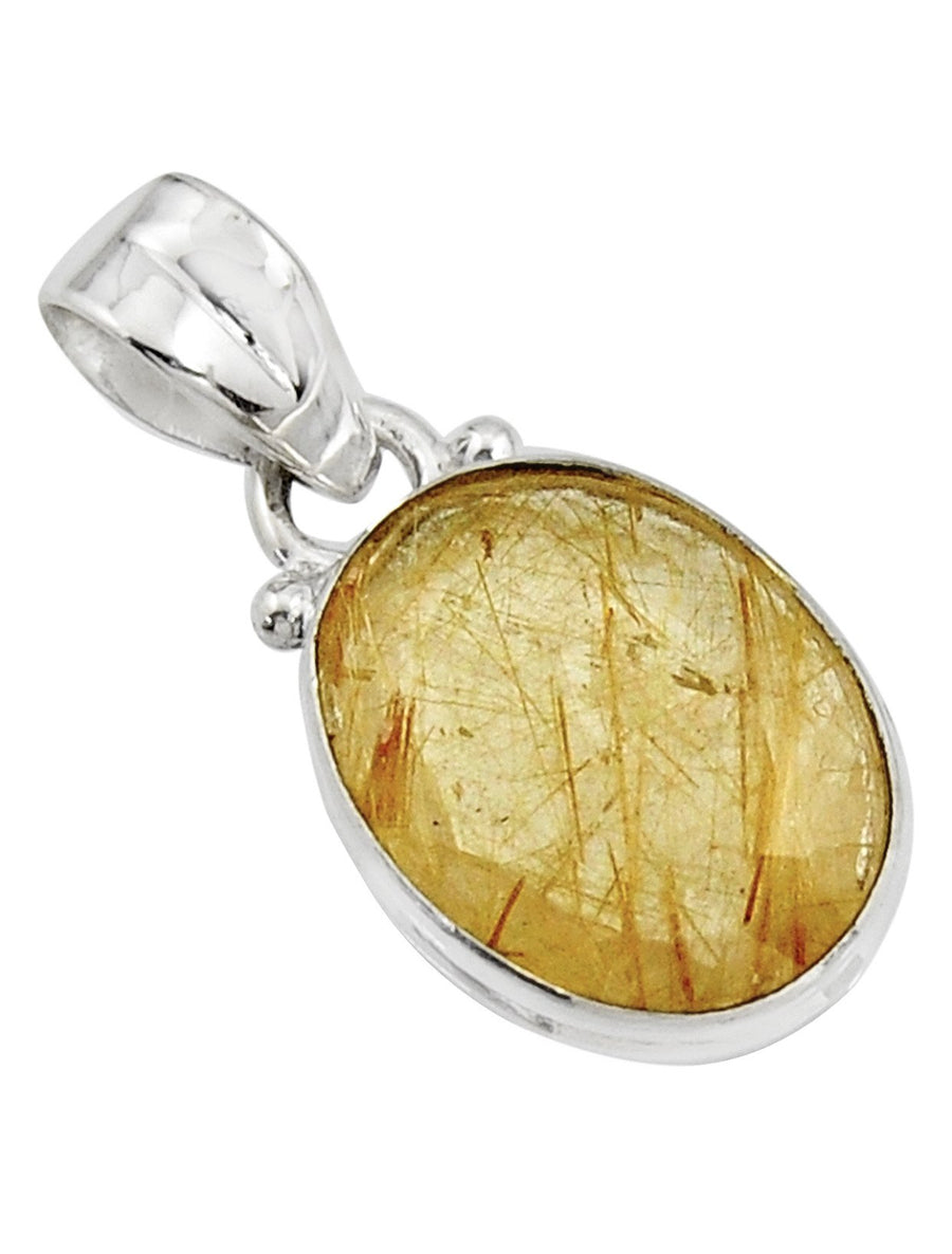 Natural Golden Rutile Oval Pendant