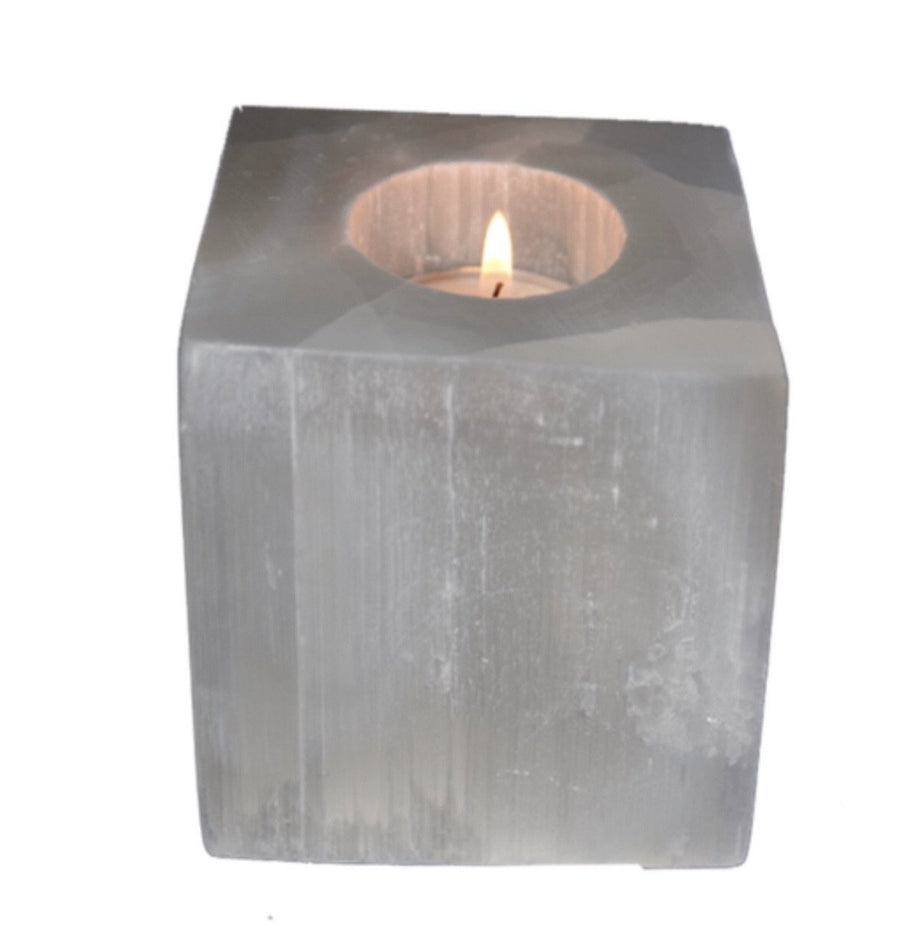 Selenite Cube Tea light