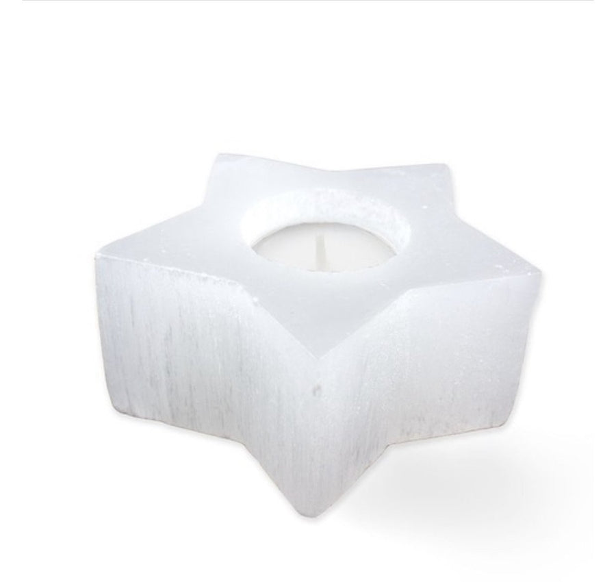 Selenite Star tea light