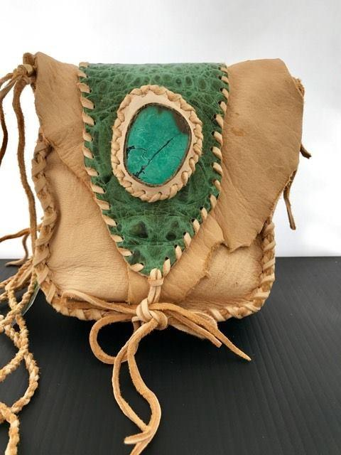 Turquoise Crocodile Green Palomino Tarot Bag