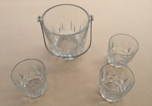 Vintage Cut Glass Ice Bucket with Three Glasses