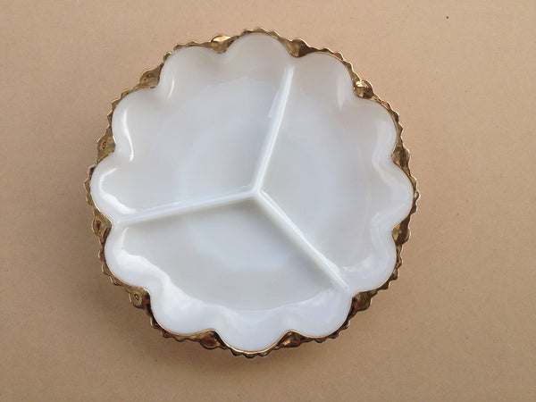 Circular White Glass Serving Dish with Gold Edge
