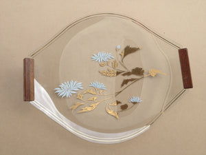 Glass Serving Plate with Wooden Handles and Flora Design