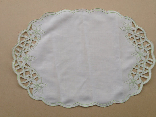 Vintage Linen Large Doily Cut and Stitched Green