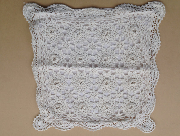 White Cotton Vintage Style Rosette Stitched Cushion Covers