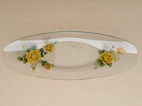 Glass Sandwich Plate Featuring Yellow Roses