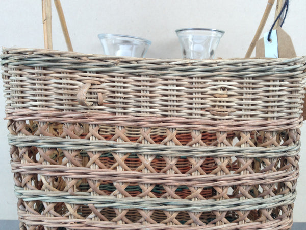 Rattan Picnic Basket with Glass Caraffes