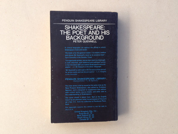 Penguin Shakespeare Library - Shakespeare: The Poet and His Background by Peter Quennell