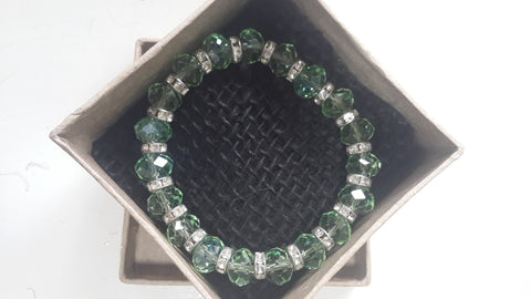 Green Crystal and Cz Bracelet