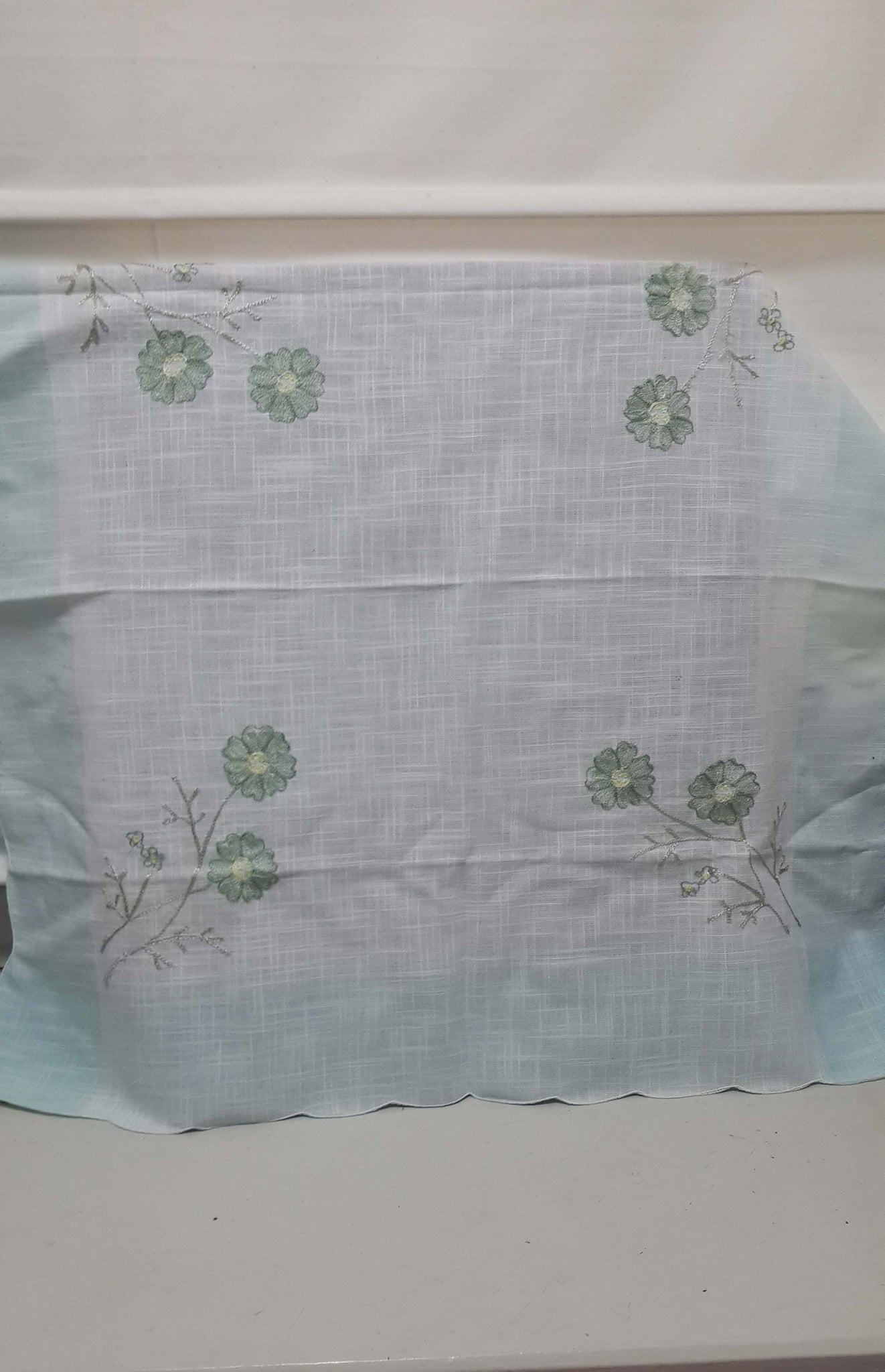 Square White Embroided Linen Tablecloth