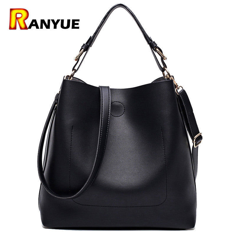 High Quality Leather Women Bucket Shoulder  Solid Handbag.