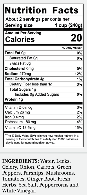 Veggie Nutrition Label