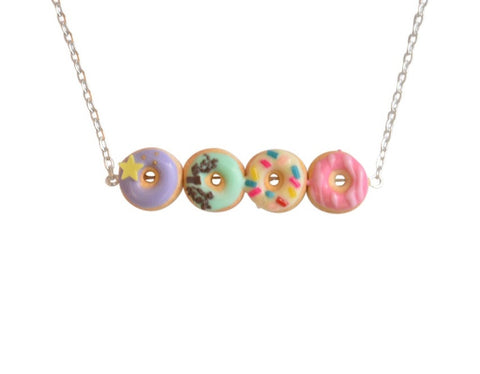 Pretty pastel donut necklace