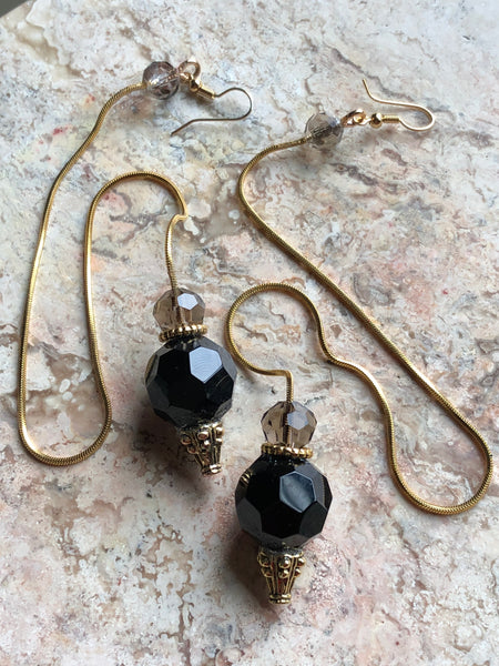 Black balls thin snake rope chain earrings