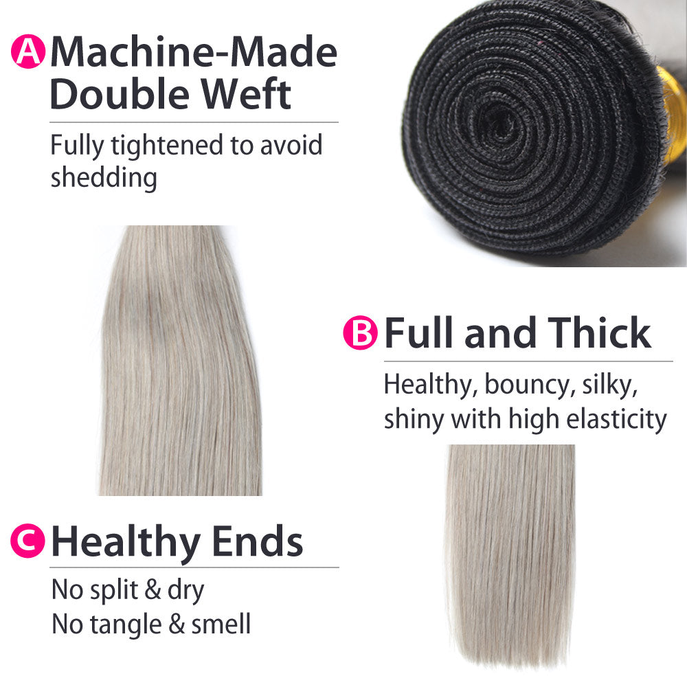 Luxury 10A 1B Gray Ombre Straight Hair 3 Bundles Details
