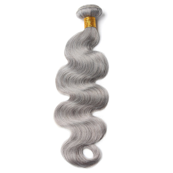 Luxury 10A Pure Gray Body Wave Hair 1 Bundle