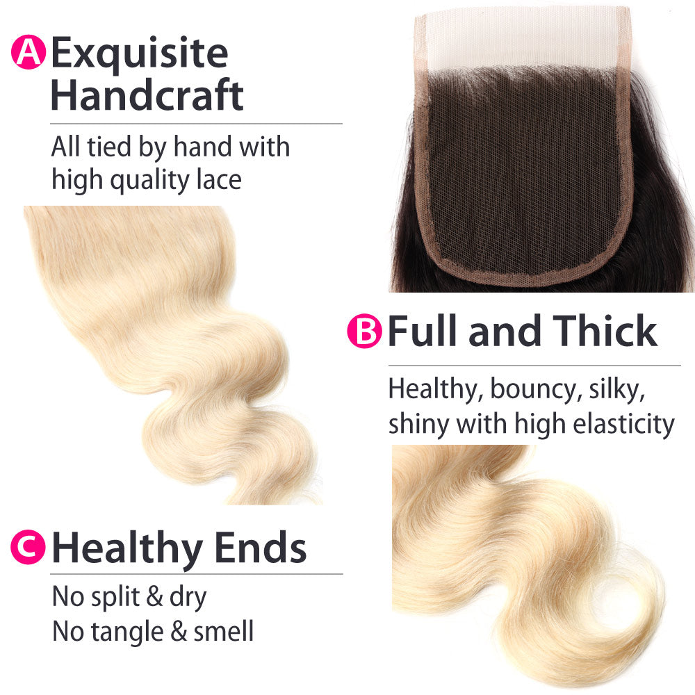 Luxury 10A 1B 613 Blonde Ombre Body Wave Lace Closure Details