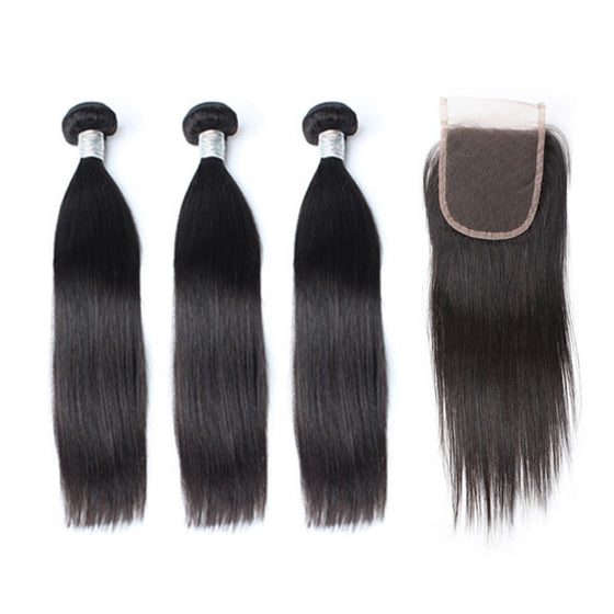 Luxury 10A Mink Straight Hair 3 Bundles With 1 Pc Lace Closure