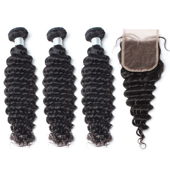 Luxury 10A Mink Deep Wave Hair 3 Bundles With 1 Pc Lace Closure