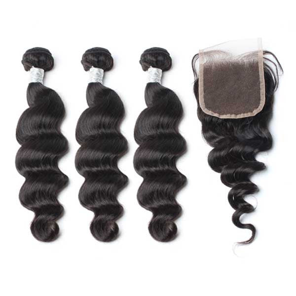 Luxury 10A Mink Loose Wave Hair 3 Bundles With 1 Pc Lace Closure