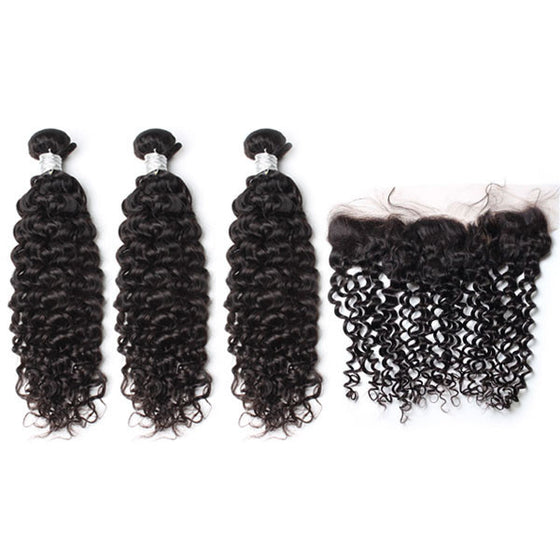 Luxury 10A Mink Deep Curly Hair 3 Bundles With 1 Pc Lace Frontal