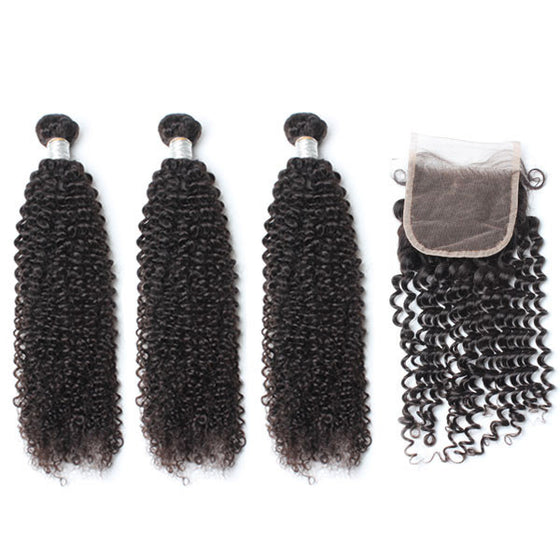 Luxury 10A Mink Kinky Curly Hair 3 Bundles With 1 Pc Lace Closure