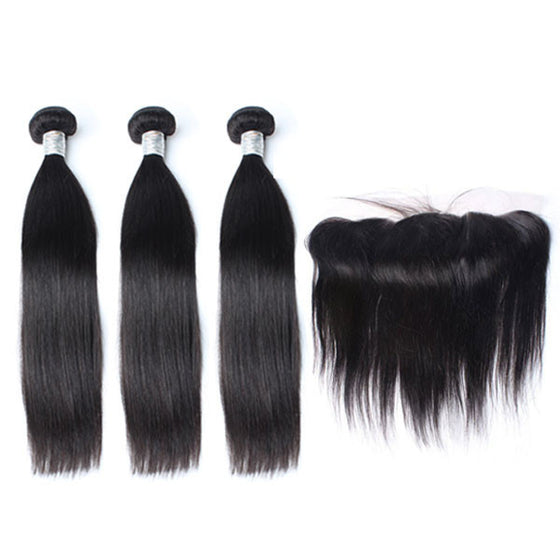 Luxury 10A Mink Straight Hair 3 Bundles With 1 Pc Lace Frontal