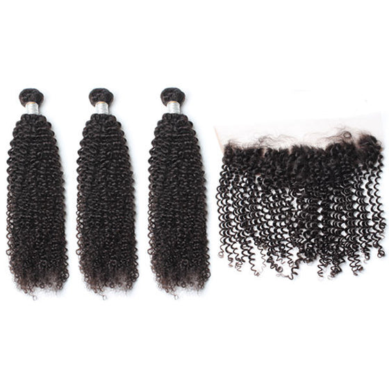 Luxury 10A Mink Kinky Curly Hair 3 Bundles With 1 Pc Lace Frontal