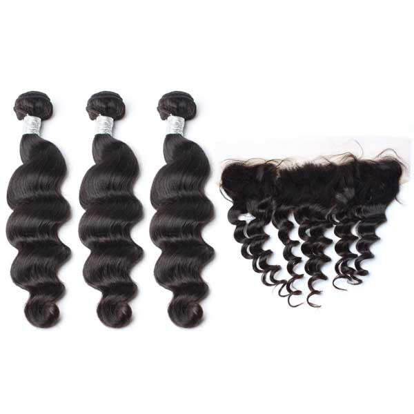 Luxury 10A Mink Loose Wave Hair 3 Bundles With 1 Pc Lace Frontal