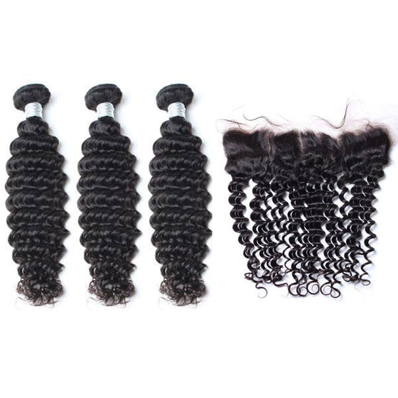 Luxury 10A Mink Deep Wave Hair 3 Bundles With 1 Pc Lace Frontal