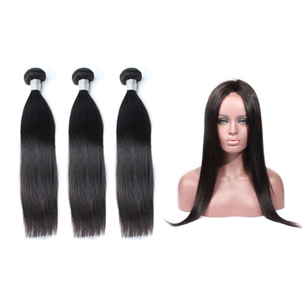 Luxury 10A Mink Straight Hair 3 Bundles With 1 Pc 360 Lace Frontal