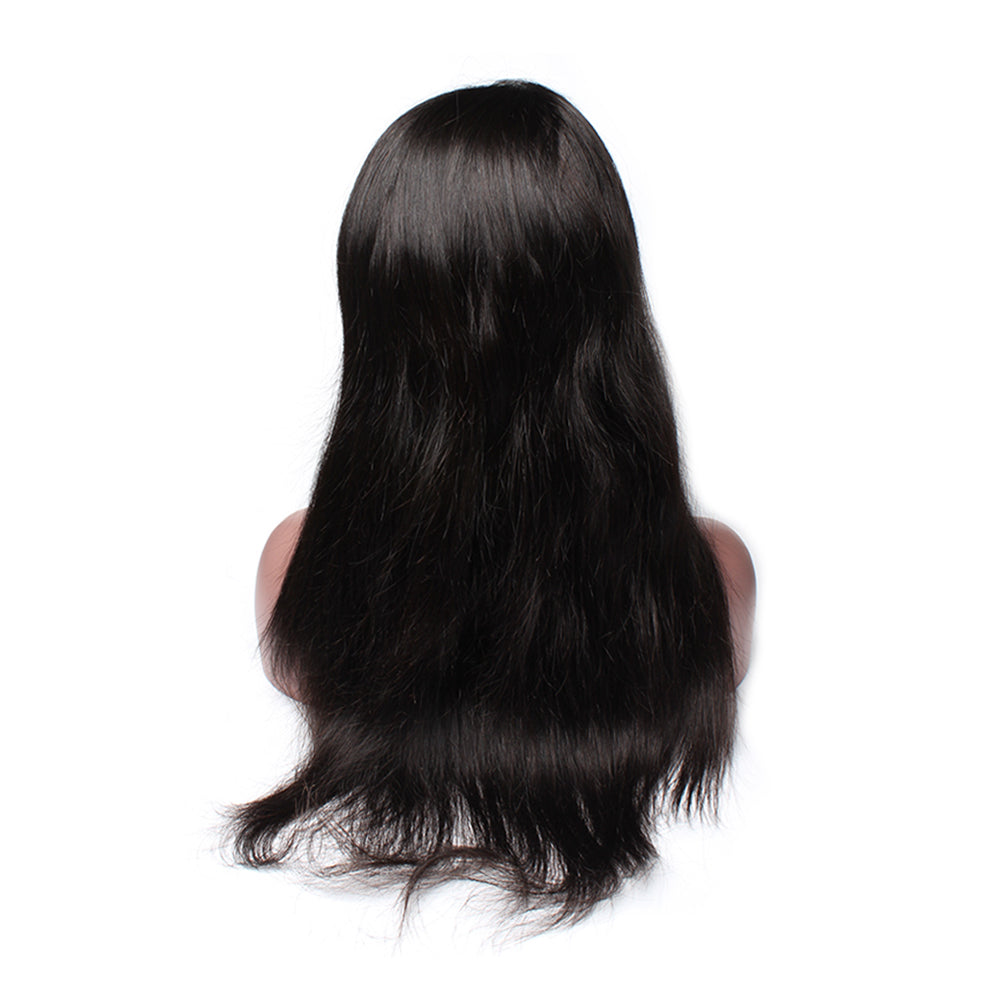 Luxury 130% Density Straight Human Hair 360 Lace Frontal Wigs Back