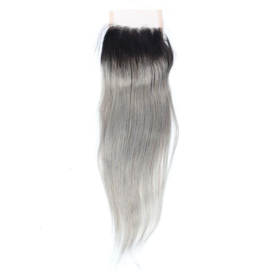 Luxury 10A 1B Gray Ombre Straight Lace Closure