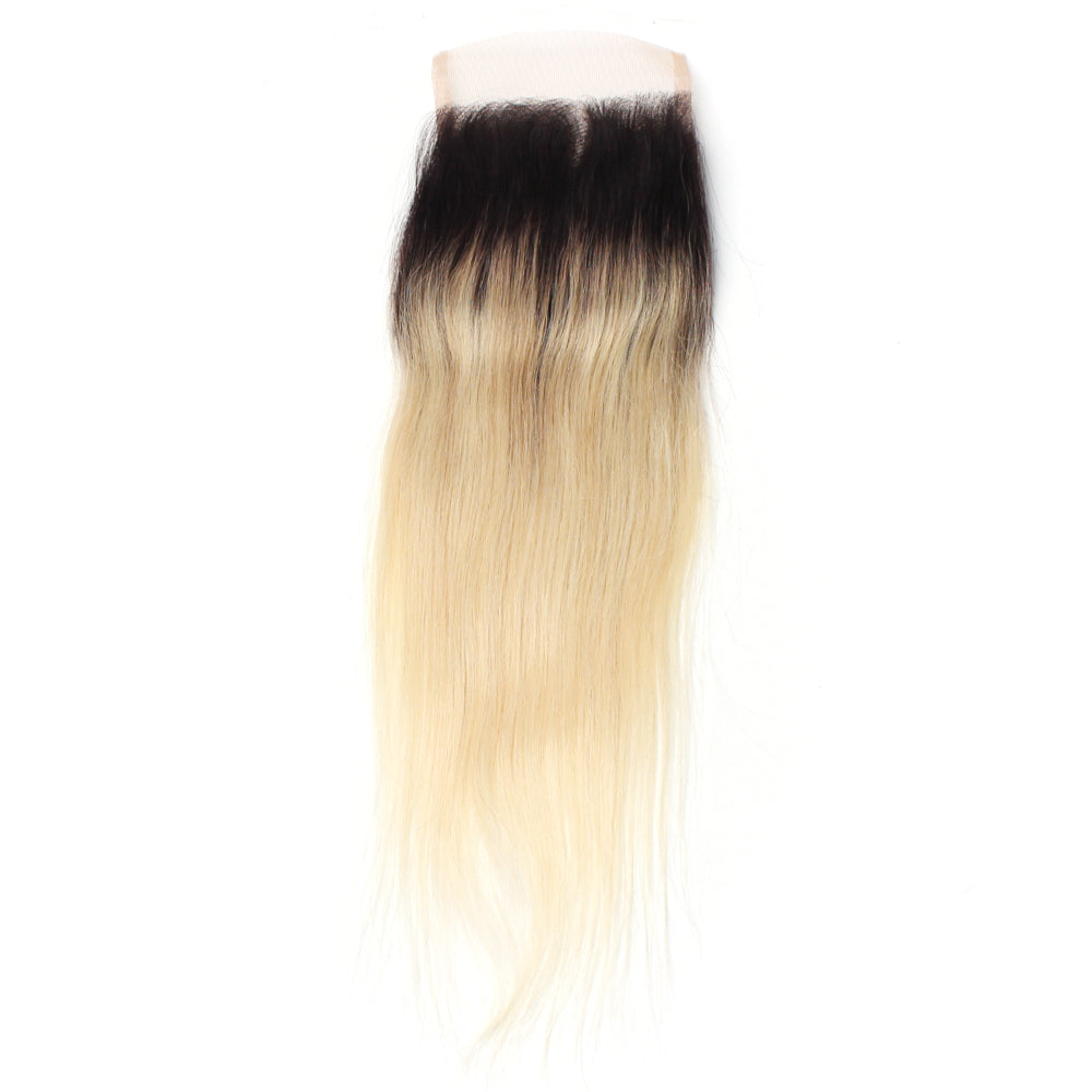 Luxury 10A 1B 613 Blonde Ombre Straight Lace Closure