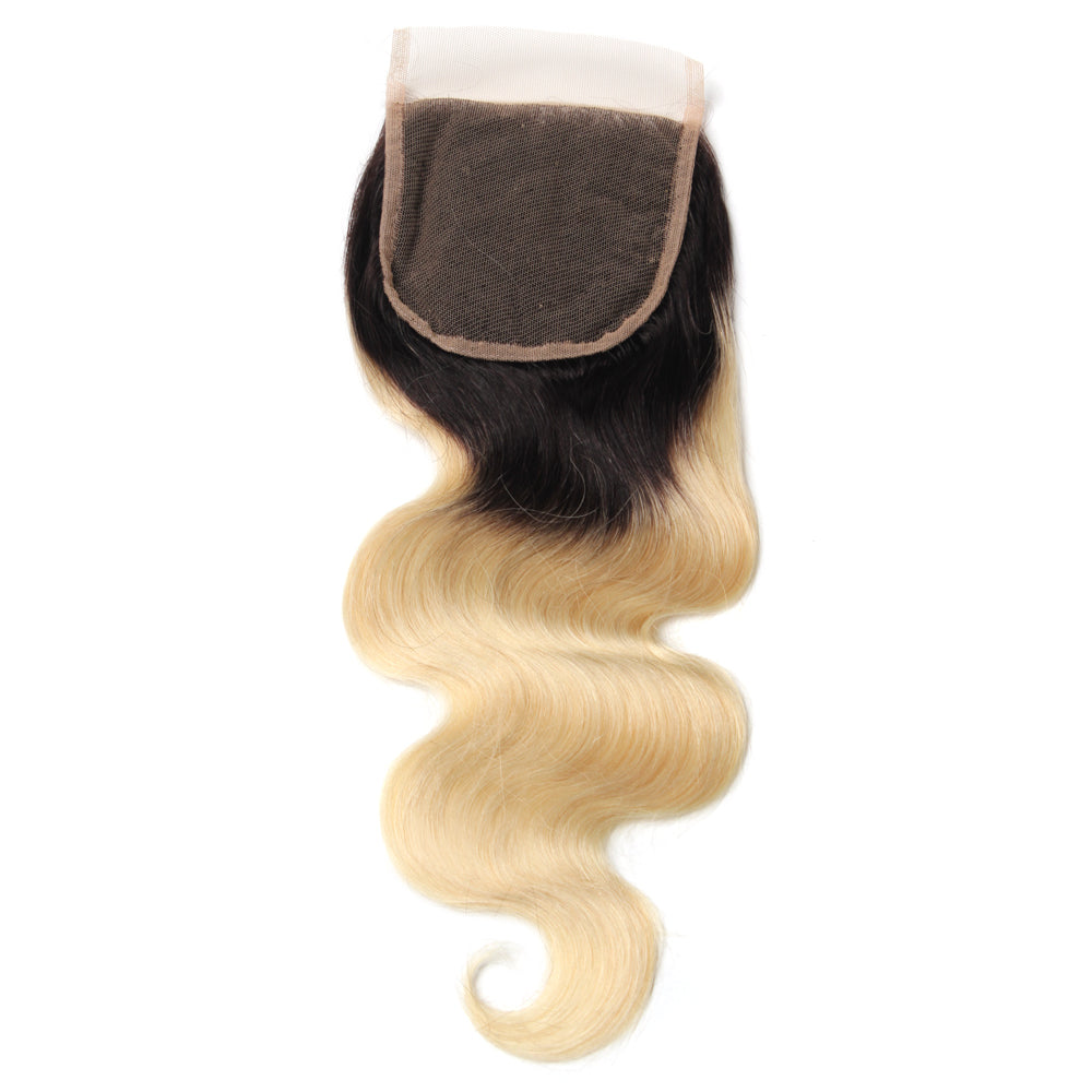 Luxury 10A 1B 613 Blonde Ombre Body Wave Lace Closure Back