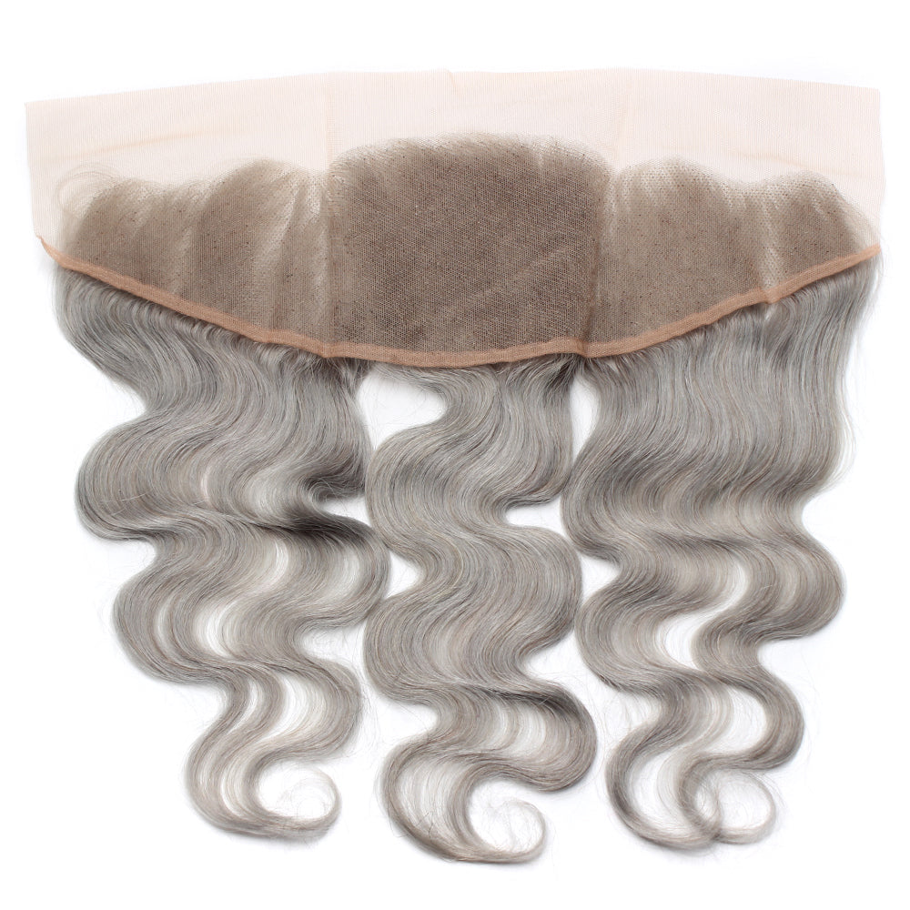 Luxury 10A Pure Gray Body Wave Lace Frontal Back