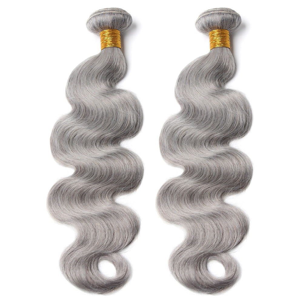 Luxury 10A Pure Gray Body Wave Hair 2 Bundles